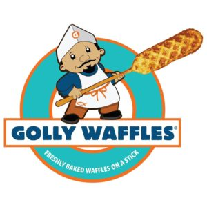 Logo for Golly Waffles, a sponsor of the FETCH a Cure 5K